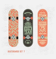 Set of retro vintage badges on a skateboard vector