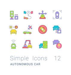 Set simple line icons autonomous car vector