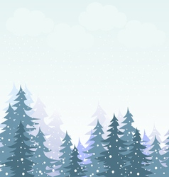 Snowfall in winter forest vector