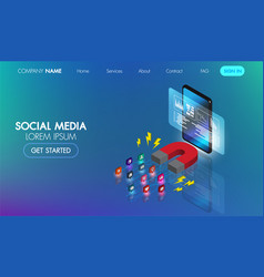 social media marketing isometric web bannermagnet vector image