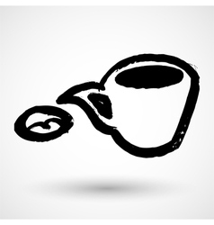 Speech bubble coffee icon grunge concept vector