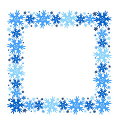 square winter frame of snowflakes isolated vector image
