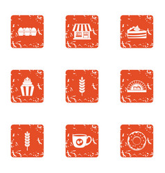 Store bakeshop icons set grunge style vector