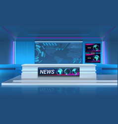 Studio for recording tv breaking news realistic vector