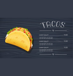 tacos with meat and vegetable vector image