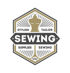 tailor sewing studio label with dummy vector image