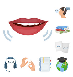 Translator and linguist cartoon icons in set vector