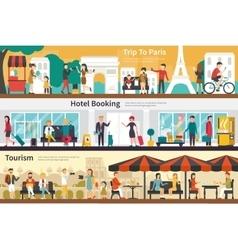 Trip To Paris Hotel Booking Tourism flat interior vector