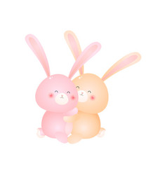 two cute sitting rabbits hug isolated on white vector image