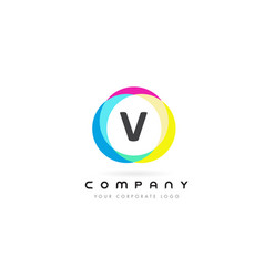 v letter logo design with rainbow rounded colors vector image
