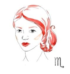 Watercolor Scorpio girl vector image