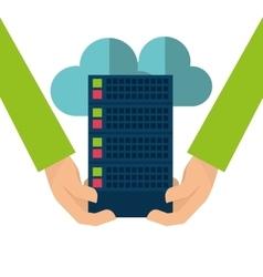 Web hosting cloud computing design vector