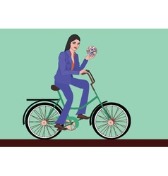 woman bike vector image