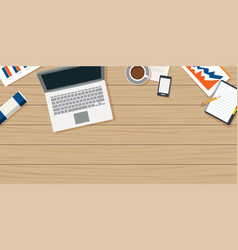 Work from home with wooden table and small office vector