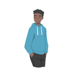 Young african american man in standing pose vector