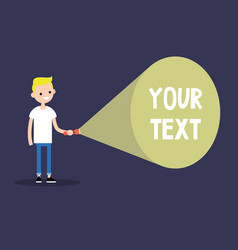 young blond boy holding a flashlight your text vector image