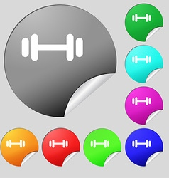 Barbell icon sign set of eight multi colored round vector