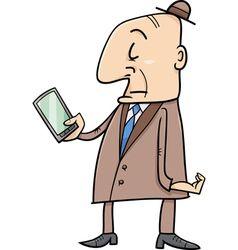elder man with smart phone vector image vector image