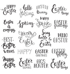 set of easter hand drawn lettering vector image