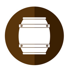 wooden barrel wine icon shadow vector image