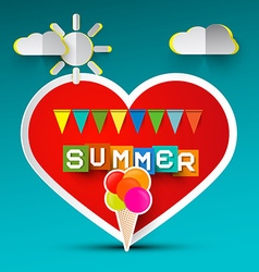 Love Summer Red Heart and Ice Cream Paper Cut vector image