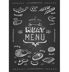 Meat menu Set of meat symbols beef pork vector image