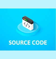source code isometric icon isolated on color vector image