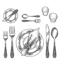 table setting drawing vector image vector image