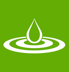 water drop and spill icon green vector image