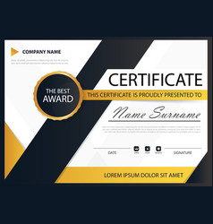 Yellow black elegance horizontal certificate with vector