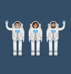 astronaut team flat style vector image