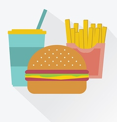 cola a hamburger french fries junk food vector image