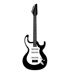 Electric guitar icon in black and white colors vector image