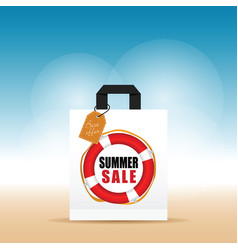 Paper bag with summer sale and tag colorful vector