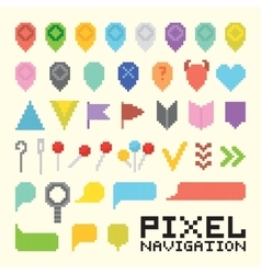 Pixel art isolated navigation icon set vector image vector image