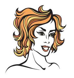 stylized portrait of cartoon pretty fashion girl vector image