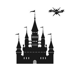 black silhouette of a medieval castle vector image