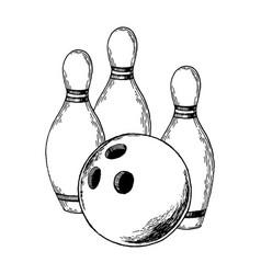 bowling engraving vector image