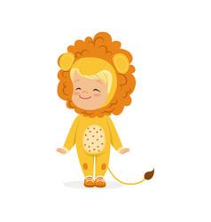 cute happy little boy dressed as a lion cub kids vector image vector image