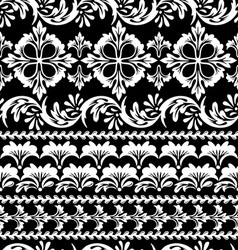 floral black seamless vector image vector image