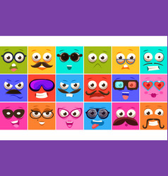 funny colorful square faces se with different vector image