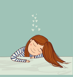 girl dreaming in love marine vector image vector image