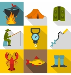 Hunting for fish icons set flat style vector image
