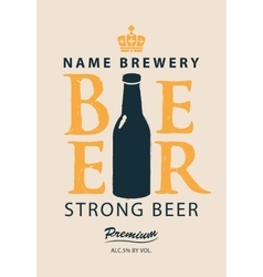 label beer with a bottle vector image vector image