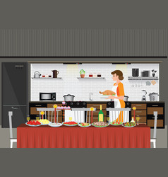 mom woman cooking in kitchen preparing food for vector image