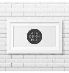 Realistic white frame on the brick wall background vector image vector image