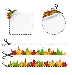 sscissors cut sticker Autumn leaf vector image
