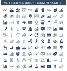 100 growth icons vector image