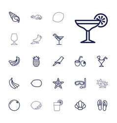 22 tropical icons vector