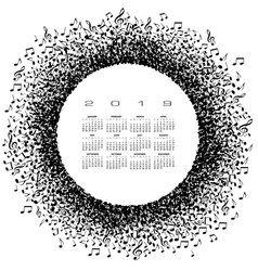 a 2019 music calendar with a circle of musical not vector image